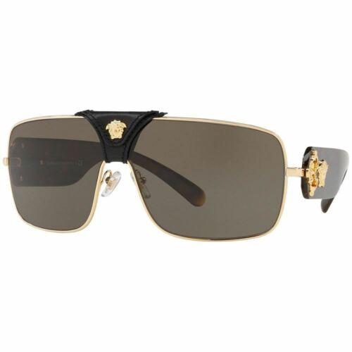 Authentic Versace Squared Baroque Unisex Sunglasses Gold w//Brown VE2207Q 1002//3