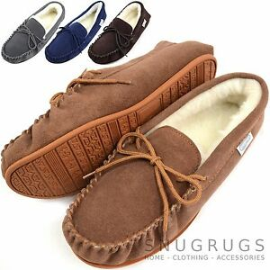 Mens Genuine Suede Moccasin Sheepskin Slippers Rubber Sole sizes 6-15