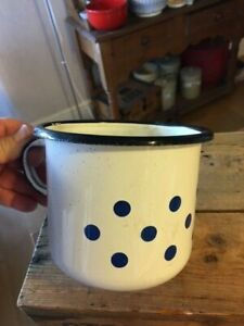 Vintage White Enamel Large-Sized Drinking Mug – Blue Spots – Great! –