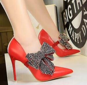 Women-High-Heels-Sexy-Platform-Stilettos-Pumps-Rhinestone-Bowknot-Court-Shoes-Sz