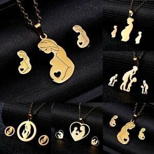 Mother-Heart-Stainless-Steel-Women-Jewelry-Set-Gold-Chain-Necklace-Earrings-Gift