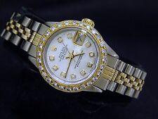 Rolex Datejust Ladies 2Tone 14K Gold Steel Watch White MOP Diamond Dial & Bezel