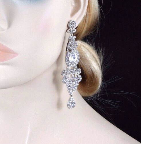 4 Inches Long Clear Austrian Rhinestone Chandelier Dangle Earrings Prom Wed E24