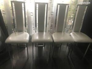 Lot de 4 chaises design blanches et Alu