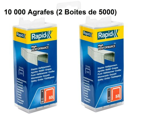 2 Boites de 5000 Agrafes *NEUF* RAPID N°53-10 000 Agrafes 12 mm
