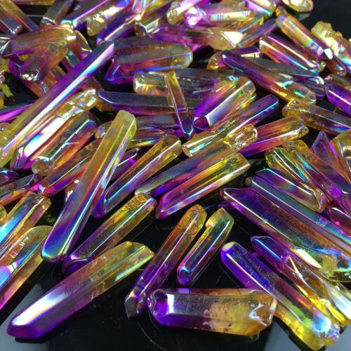 1Kg AB colours titanium rainbow aura lemurian quartz crystal point  H216