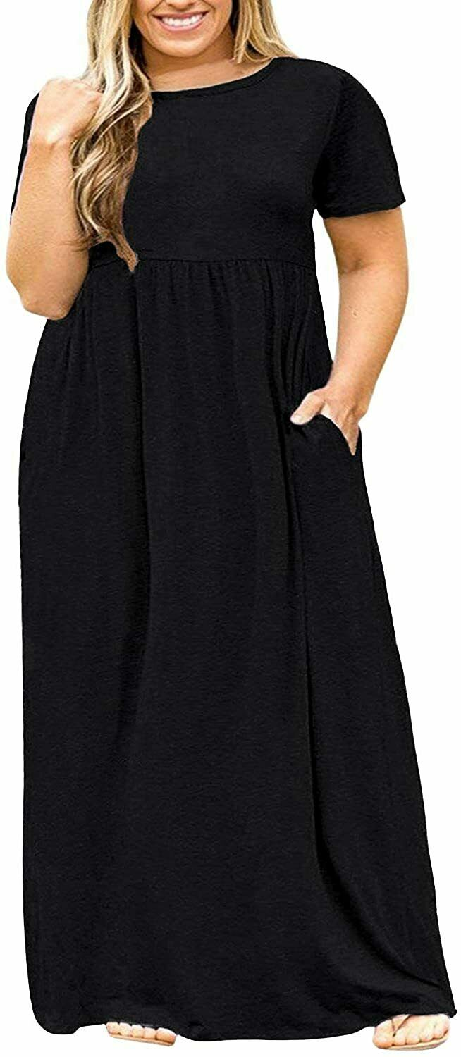 BISHUIGE Womens L-6XL Long Sleeve Casual Plus Size Maxi Dresses with Pockets
