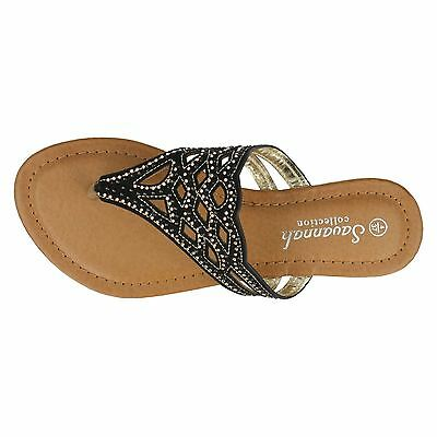 Savannah F0759 Señoras Diamante Toe Post Negro UK3x8 (R5A)