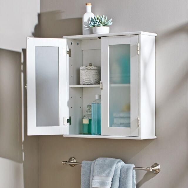 2 Door White Bathroom Wall Cabinet