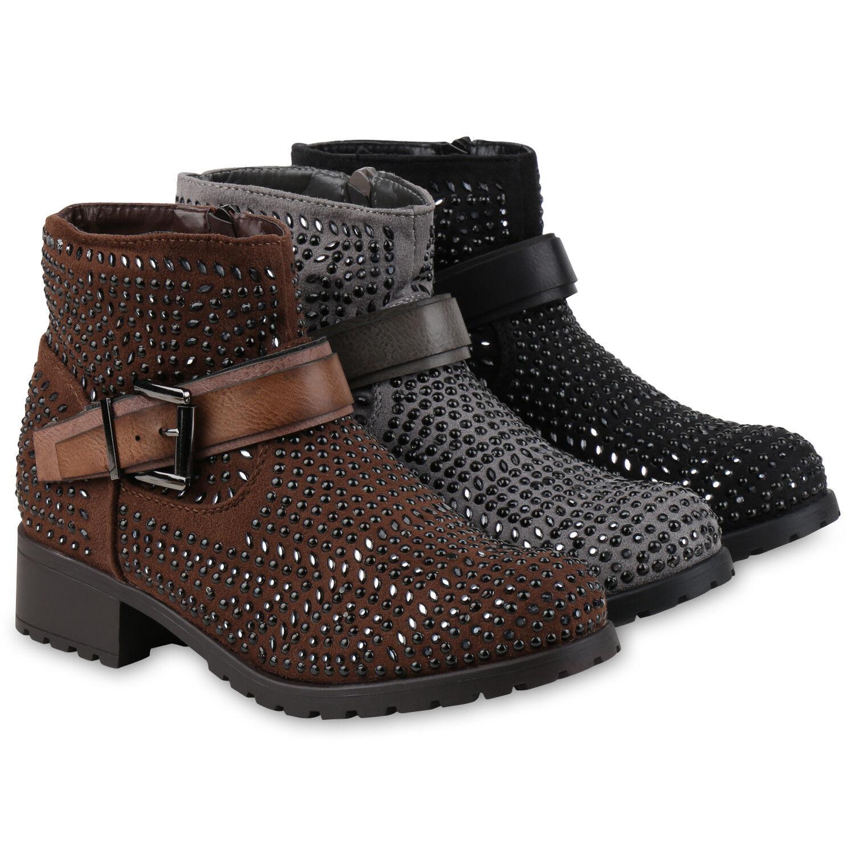 Damen Biker Boots Strass Stiefeletten Nieten Schnallen 811957 Schuhe