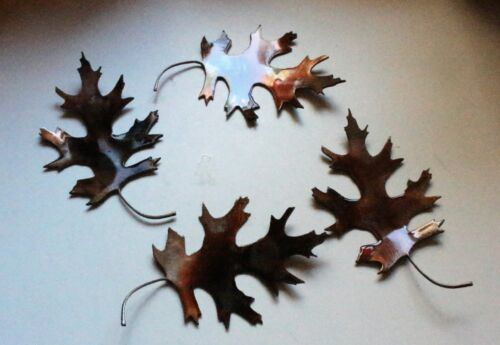 """METAL OAK LEAVES 4 natural look counter//table top  COPPER//BRONZE  5/"""" wide"""