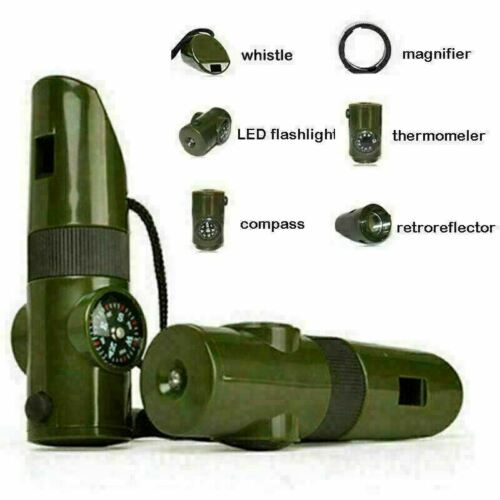 Survival Emergency 7-1 Whistle LED Light Compass Thermometer Magnifier