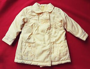 eebd2bc8f69f NEW Girls GEORGE yellow white flower winter floral coat 9-12   12-18 ...