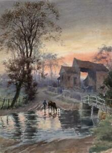 JOSEPH-TWIGG-Watercolour-Painting-A-TRIBUTARY-OF-THE-THAMES-NEAR-SUNBURY-1901