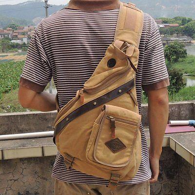 New Men Sling Bag Retro Chest Pack Messenger Shoulder Bag Travel Hiking Satchel