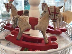 Cavallo A Dondolo Legno Natale.Dettagli Su Cavallo A Dondolo Legno Cavallino Pendente Albero Natale Da Appoggio Decorazione