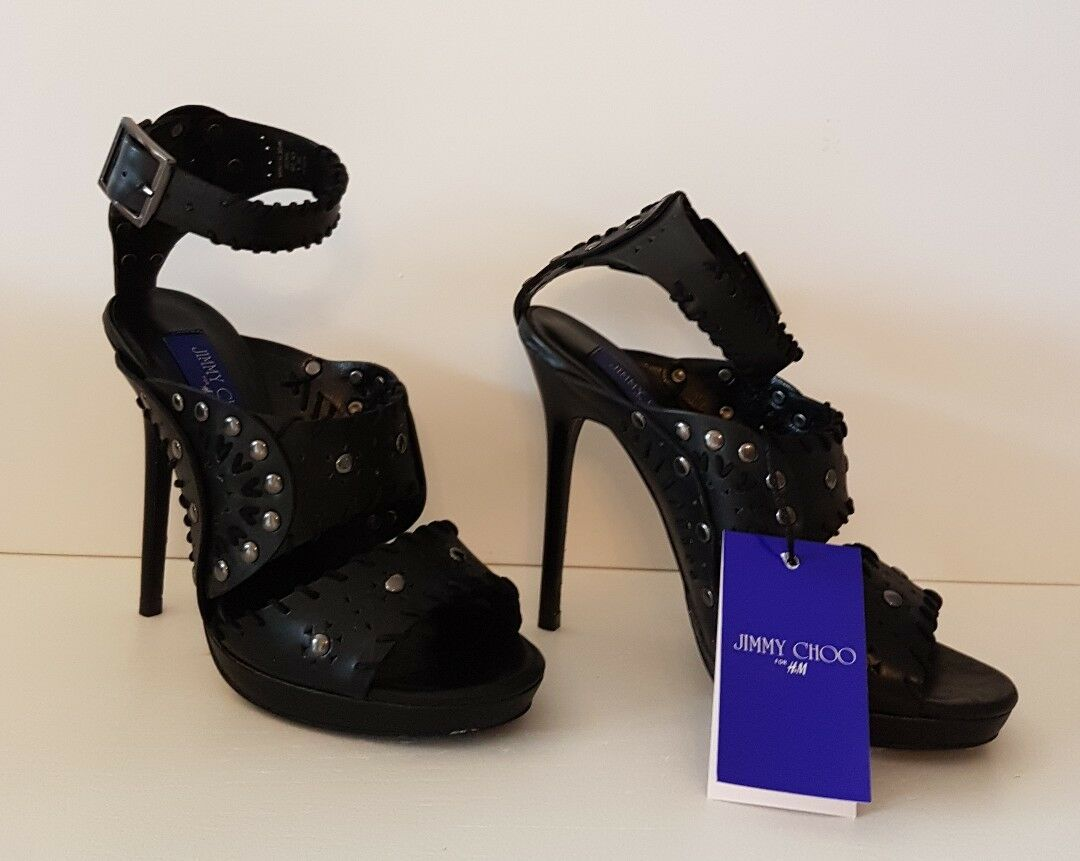 Jimmy Choo Heels for H&M Leder Leather Nieten High Heels Choo Schwarz Black Gr. 38 US 7 NEU 0fe48a