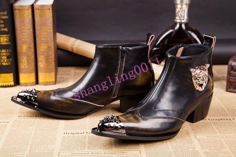 Zapatos De Vestir SH botas al tobillo para Hombre Puntera Puntiaguda vaquero occidental militar Moda Caliente