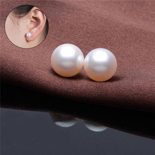 Women 925 Sterling Silver Freshwater Pearl Ear Stud Earrings Jewellery 6mm  GN