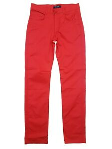 Hommes-Peviani-rouge-chinos-chinos-pantalon-coupe-droite-regular-Coton-Pantalon