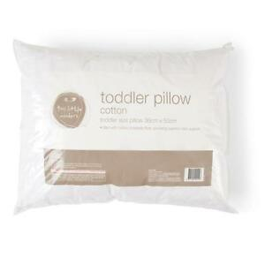 Toddler Kids White Cot Pillow Baby Nursery Neck Support Cotton Cover 12 months+