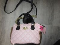 Betsey Johnson Quilted Faux Leather Pink W Rose Gold Trim Mini Xbody Tote Purse