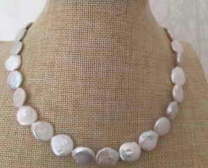 gorgeous 11-12mm south sea white baroque pearl  necklace 18inch  14k
