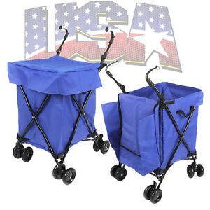 Folding shopping cart basket rubber wheels laundry grocery travel free blue line ebay - Collapsible laundry basket with wheels ...