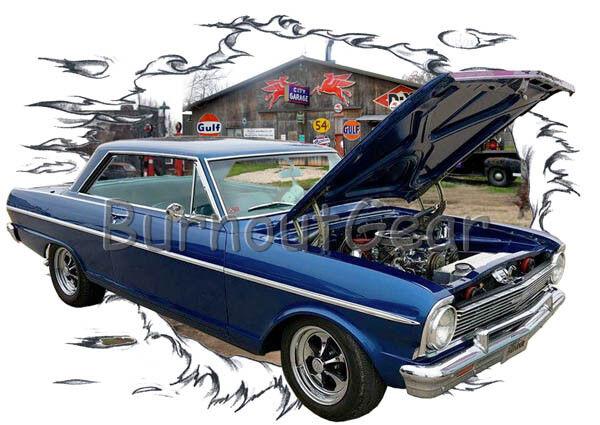 1965 Blau Chevy Nova b Custom Hot Rod Garage T-Shirt 65 Muscle Car Tees