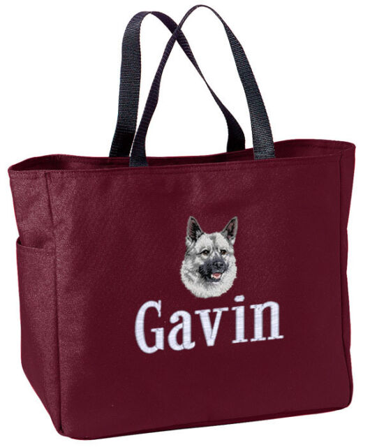 Norwegian Elkhound embroidered essential tote bag 18 COLORS