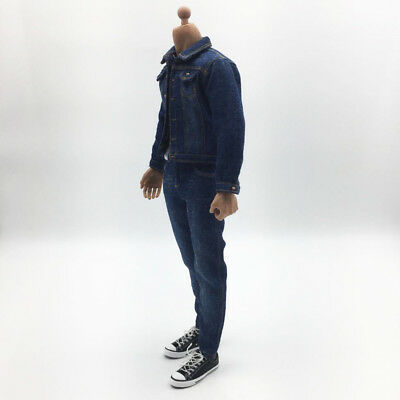 1:6 Denim Jeans Overcoat Male Action Figure Canvas Shoes for 12/'/' Dragon BBI
