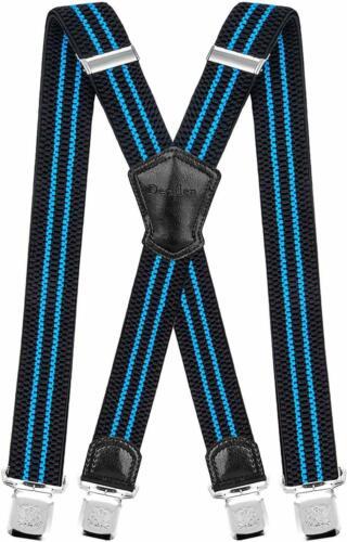 Mens Extra Wide Trouser Braces Metal Clip Casual Smart Elastic Comfort Bracers
