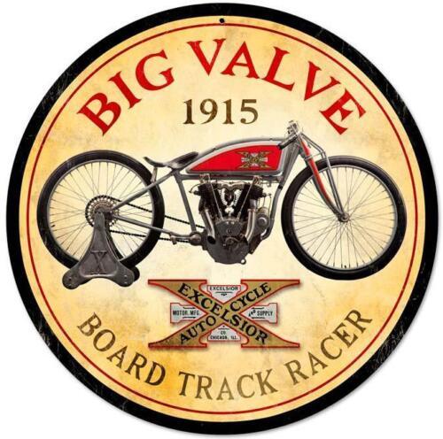 "Big Valve 1915 Excelsior Motorcycle 14/"" Round Metal Sign"