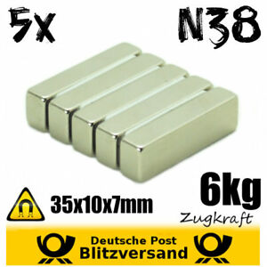 5x-Neodym-Magnet-Quader-35x10x7mm-6kg-Zugkraft-Industrie-Power-Permanentmagnet