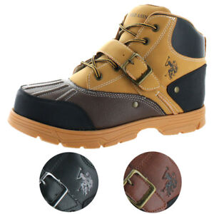 U-S-Polo-Assn-Kedge-Men-039-s-Buckle-Duck-Toe-Winter-Snow-Boots