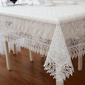 Image Is Loading Z287 Lace Victorian Tablecloth  White Rectangular Floral Gift