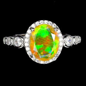 Unheated-Oval-Fire-Opal-Hot-Rainbow-Luster-10x8mm-Cz-925-Sterling-Silver-Ring