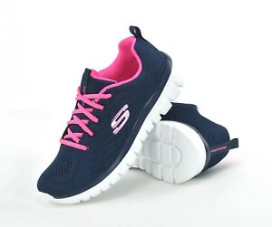 skechers navy and pink trainers