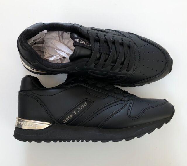 Versace Jeans Black Leather Gold Heel