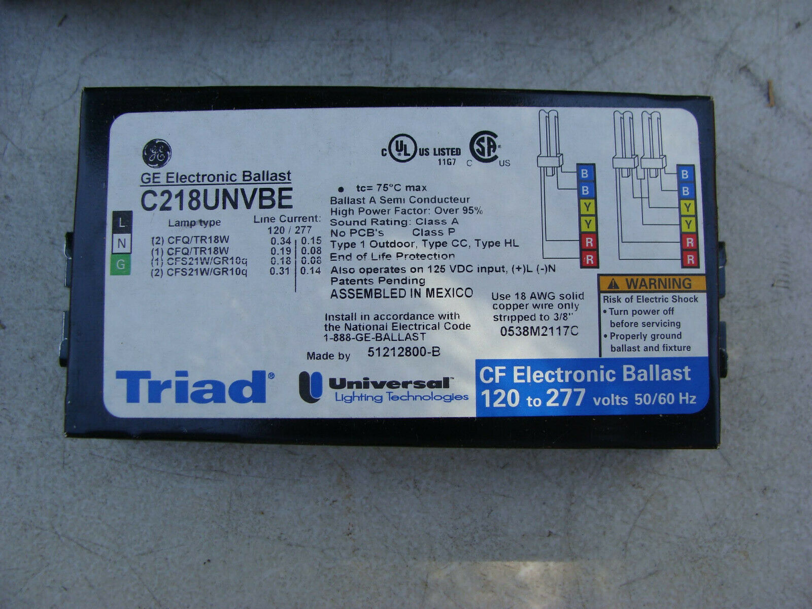 2 LAMP UNIVERSAL C264UNVBES TRIAD CFL ELECTRONIC BALLAST 120//277V 26W