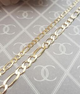 Solid-9ct-Yellow-Gold-Diamond-Cut-Figaro-Chain-18-20-22-24-for-Men-amp-Ladies