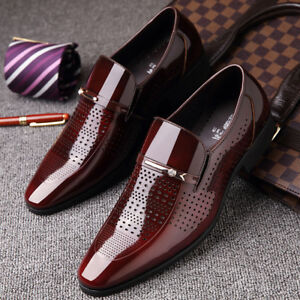 Image Is Loading Mens Business Dress Shoes Pointy Toe Patent Leather