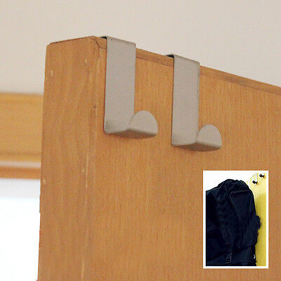 New 2x Stainless Steel Home Kitchen Over Door Hanging Holder Hooks Cloth Ha E0Xc