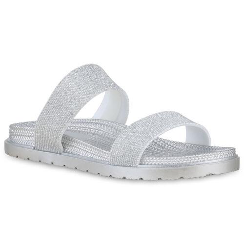 Damen Pantoletten Glitzer Sandalen Strandschuhe Flats Schlappen 830203 Schuhe