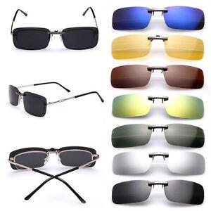 Polarized-Sunglasses-Flip-up-Clip-On-Driving-Glasses-Day-Night-Vision-Lens-UV400