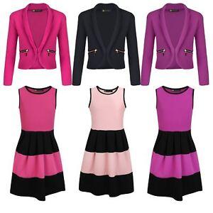 2973a98a4d46c Girls Sleeveless Skater Dress Bundle with Zip Pockets Jacket 3-14 ...
