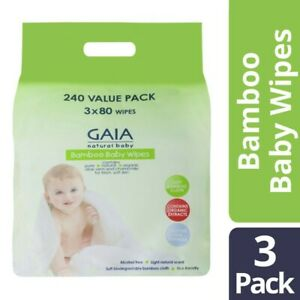 Gaia 240 Bamboo Baby Wipes 3x80 pack 3 pack