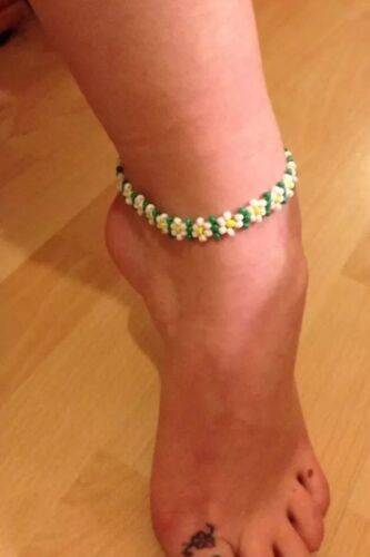 Anklet ankle bracelet czech glass seedbead boho hippie festival Daisy