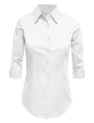 So Good Women's 3/4 Sleeve Button Down Shirt with Stretch
