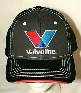 "Valvoline Trusted Oil ""V"" Logo Racing Baseball Black/ Gray Stitch Hat New OSFM"